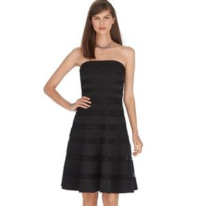 WHBM Strapless Lace Banded Fit & Flare Dress